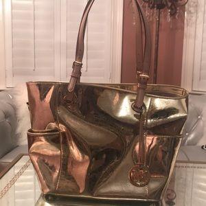 Michael Kors large metallic gold logo bag